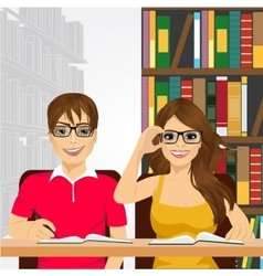 students in the college library vector image