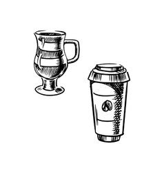 Takeaway paper cup and coffee mug vector