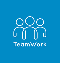 Teamwork icon line business concept on blue vector