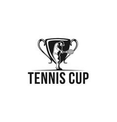 tennis player tennis cup logo vector image