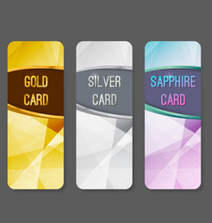 Three vip premium membership vertical cards vector