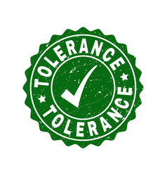 Tolerance scratched stamp with tick vector