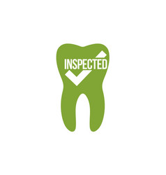 tooth icon with a check mark inspected tooth vector image