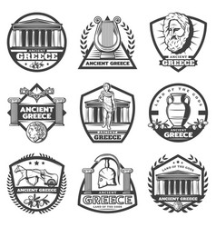 Vintage monochrome ancient greece labels set vector