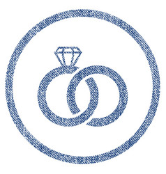 Wedding rings rounded fabric textured icon vector