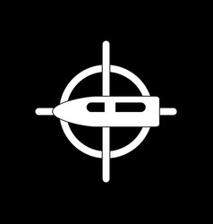 White icon on black background aim on bullet vector