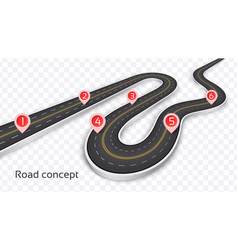 winding 3d road concept on a transparent vector image
