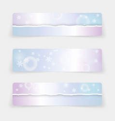 winter banners with realistic torn paper borders vector image
