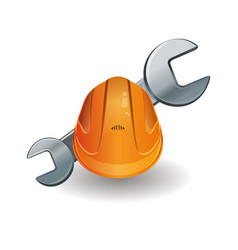 Working hard hat and wrench vector