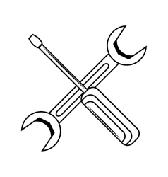 wrench and screwdriver isolated icon vector image