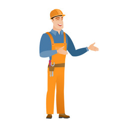 young caucasian happy builder gesturing vector image vector image