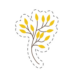branch yellow leaves cut line vector image