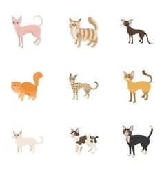 Cats icons set cartoon style vector