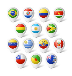 Map pointers with flags South America vector image vector image