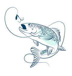 salmon jumping for bait vector image