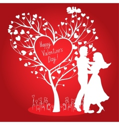 Greating Valentines card with dancing couple vector image