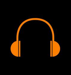 headphones sign orange icon on black vector image vector image