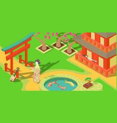 japan travel horizontal banner cartoon style vector image