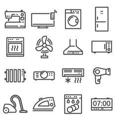 line household appliances icons set vector image