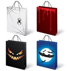 set of halloween shopping bags vector image vector image