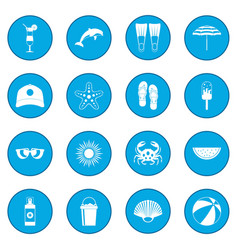 Summer icon blue vector