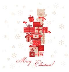 Vintage Christmas Card - Christmas Gifts with Bear vector image vector image