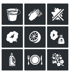 Cleaning service icons set vector