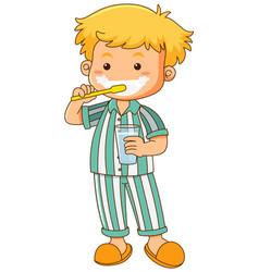 little boy brushing teeth vector image vector image