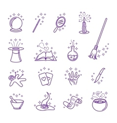 magic icons in line style vector image vector image