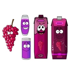 Natural red grape juice cartoon characters vector image vector image