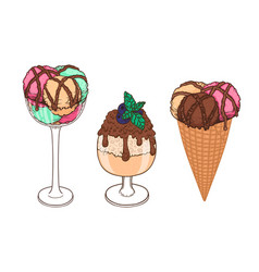 set of hand drawn ice cream with waffle cone cup vector image