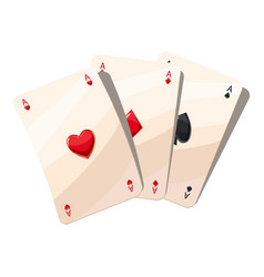 three aces playing cards icon cartoon style vector image