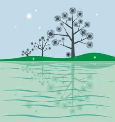 trees near lake vector image vector image