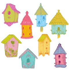 Colorful Bird Houses vector image vector image