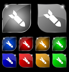 MissileRocket weapon icon sign Set of ten colorful vector image