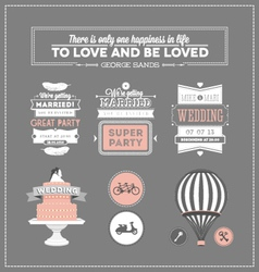 Set of design elements for wedding vector image vector image