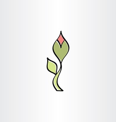 stylised flower with outline icon vector image vector image