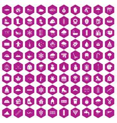 100 snow icons hexagon violet vector