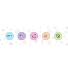 5 ruler icons vector