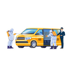 A taxi driver in a protective mask invites the vector