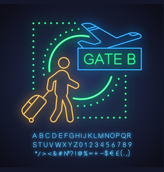 Airport neon light concept icon vector