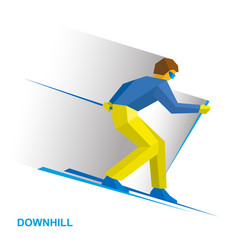 alpine skiing cartoon skier running downhill vector image