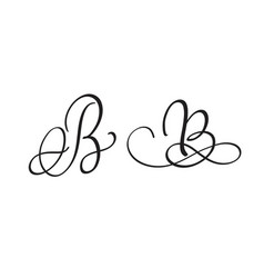 Art calligraphy letter b with flourish of vintage vector