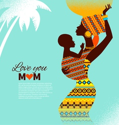 Beautiful silhouette african mother and baby vector