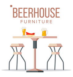 beer house furniture brewery wooden table vector image