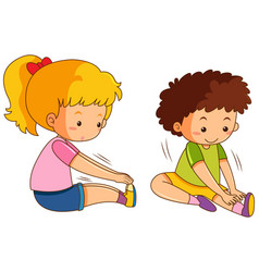 Boy and girl exercise on white background vector