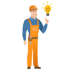 Builder pointing at bright idea light bulb vector