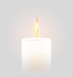 Candle flame burning 3d realistic white background vector
