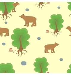 Cartoon bear in the woods vector image
