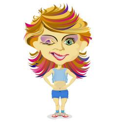 Cartoon girl teenager vector